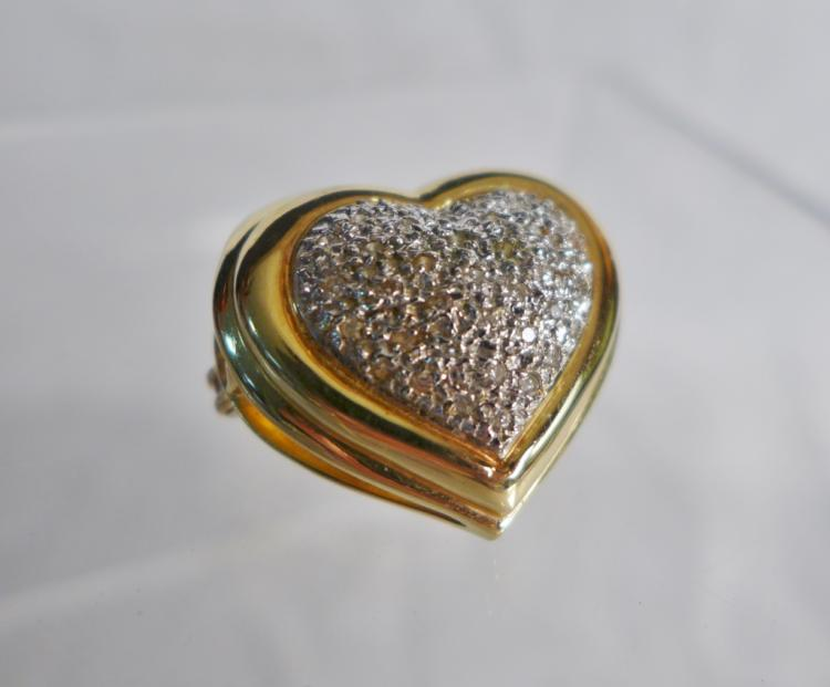 Gold & Diamond Pave Heart Pendant / Brooch