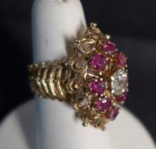 14k Gold, Diamond and Ruby Cocktail Ring