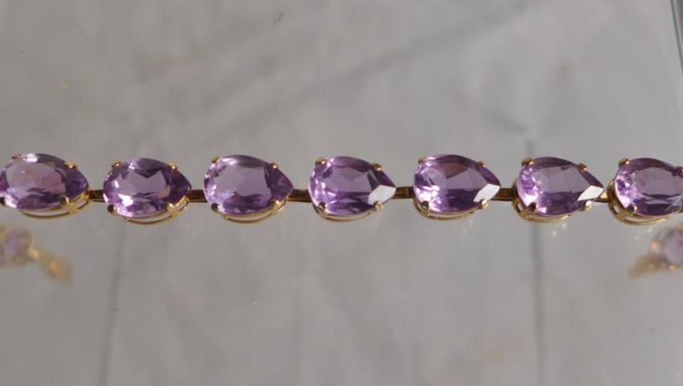 Gold & Amethyst Tennis Bracelet