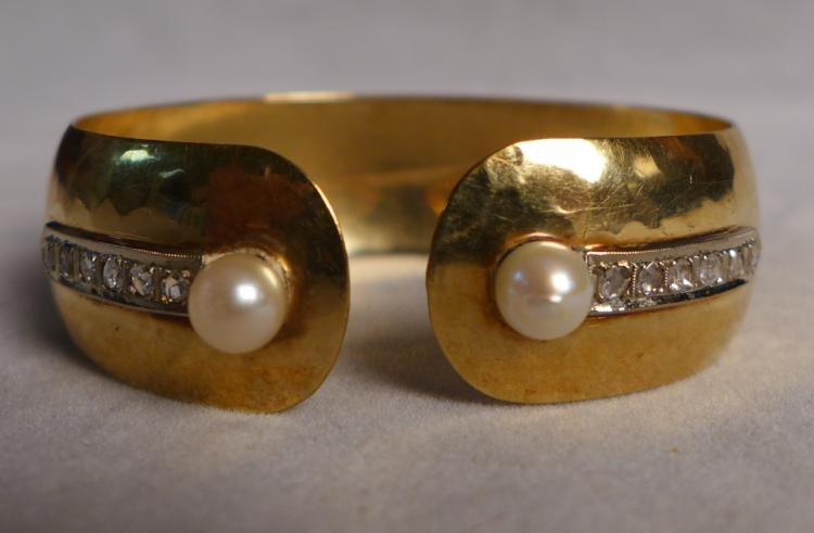 Hammered Gold, Pearl & Diamond Cuff Bracelet