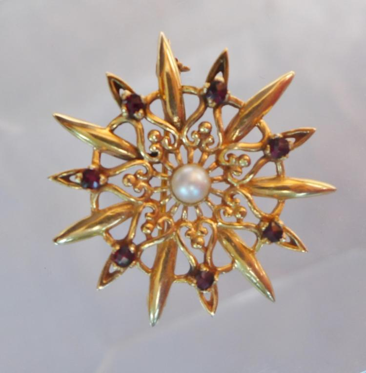 Gold, Pearl & Ruby Brooch