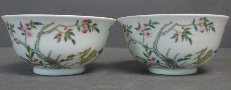 Pair Chinese Hand Painted Porcelain Bowls