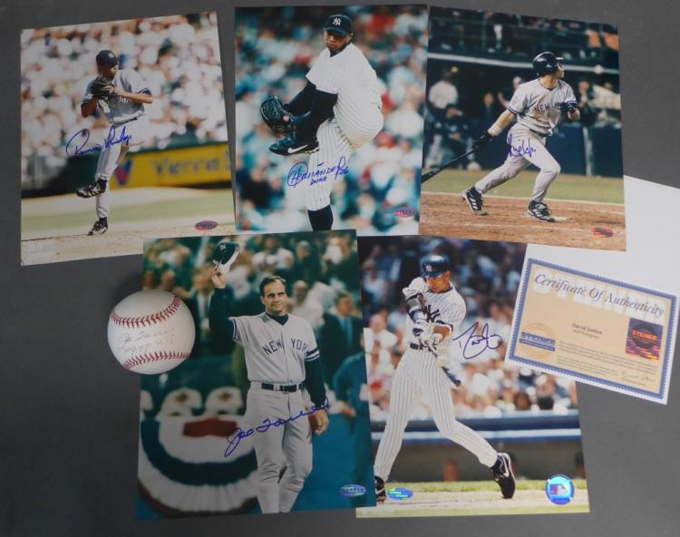 Certified NY Yankee Autographed 8x10 Photos & Ball