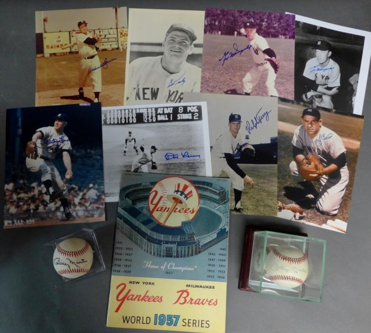 1957 World Series Program & 1957 Player Autographs