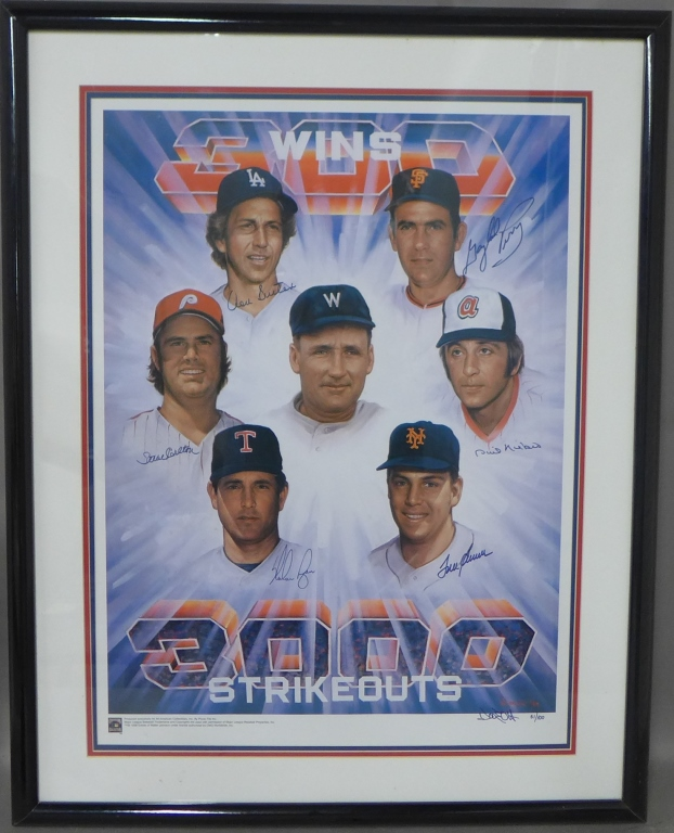 Autographed Litho: 3000 Strikeouts & 300 Wins