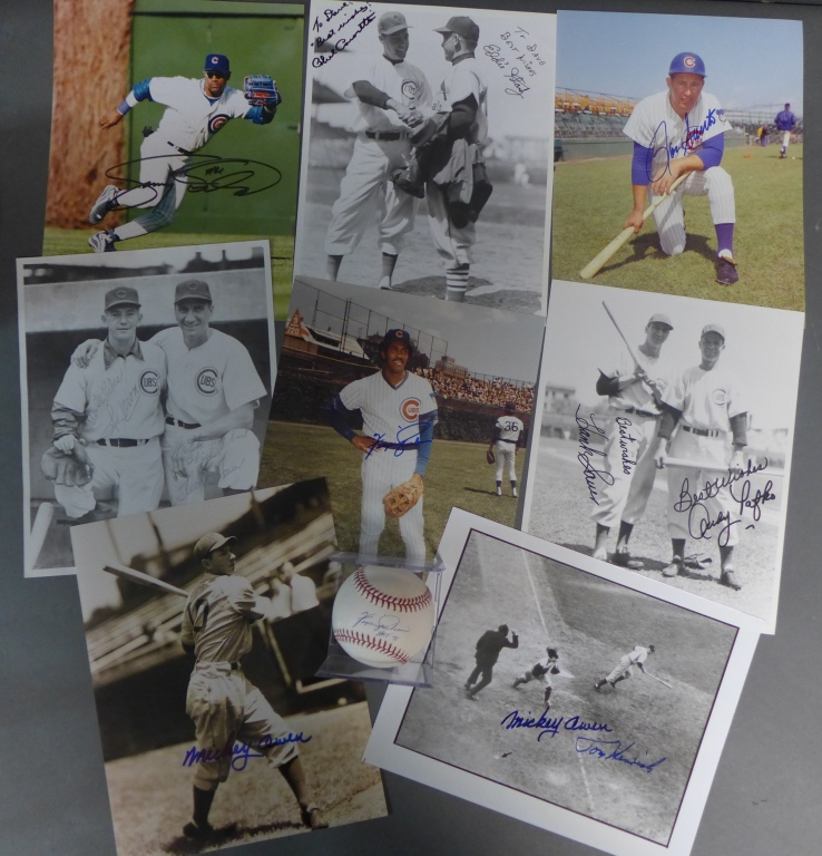 Chicago Cubs Autographed Photos & Ball