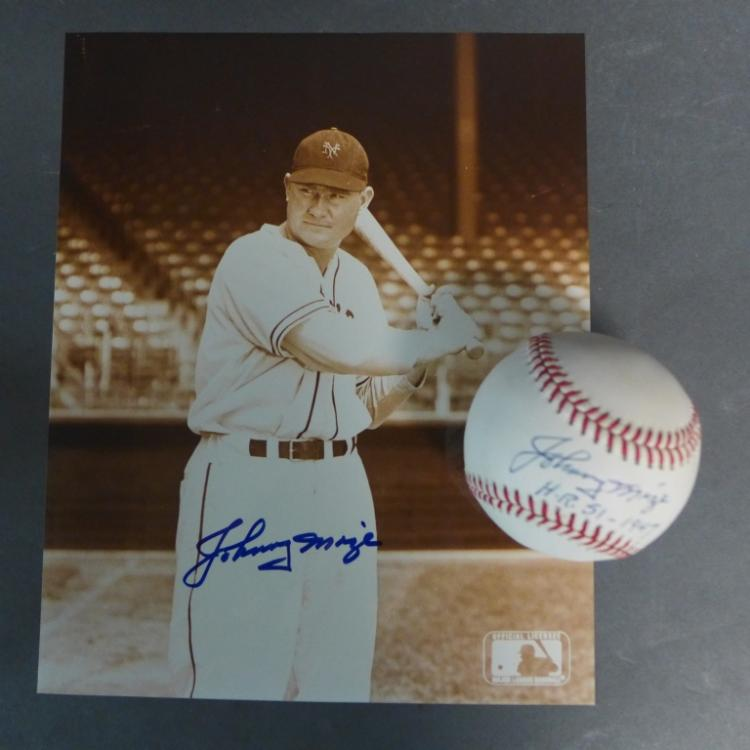 Johnny Mize Autographed Baseball and Photo