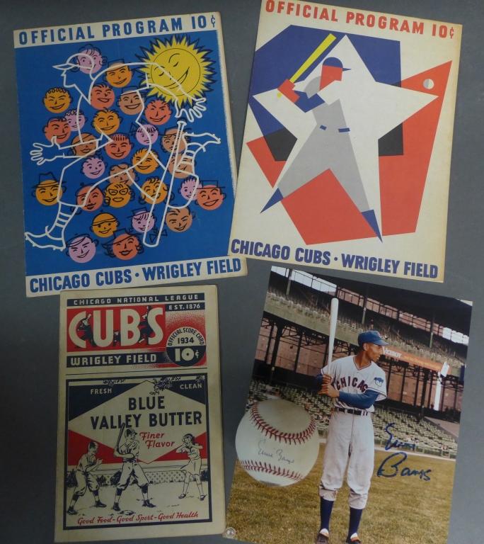 Cubs Scorecard, Programs & Ernie Banks Autographs