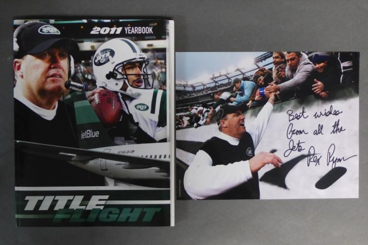 2011 Jets Yearbook and Rex Ryan Autographed Photo