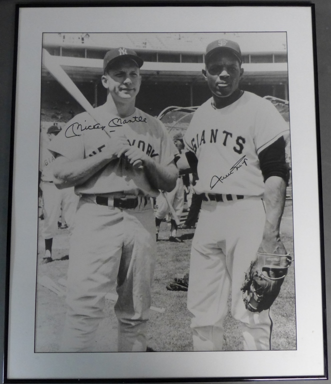 Mickey Mantle & Willie Mays Autographed Photo w/ JSA