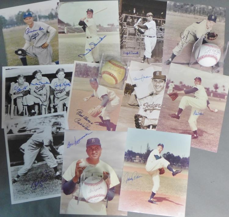 Brooklyn Dodgers Autographed Photos & Baseballs