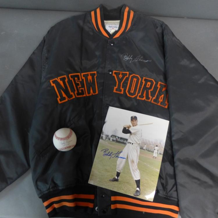 Bobby Thomson Autographed Jacket, Baseball & Photo