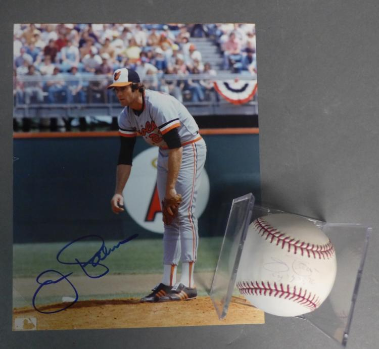 Jim Palmer Certified Baseball and Photo