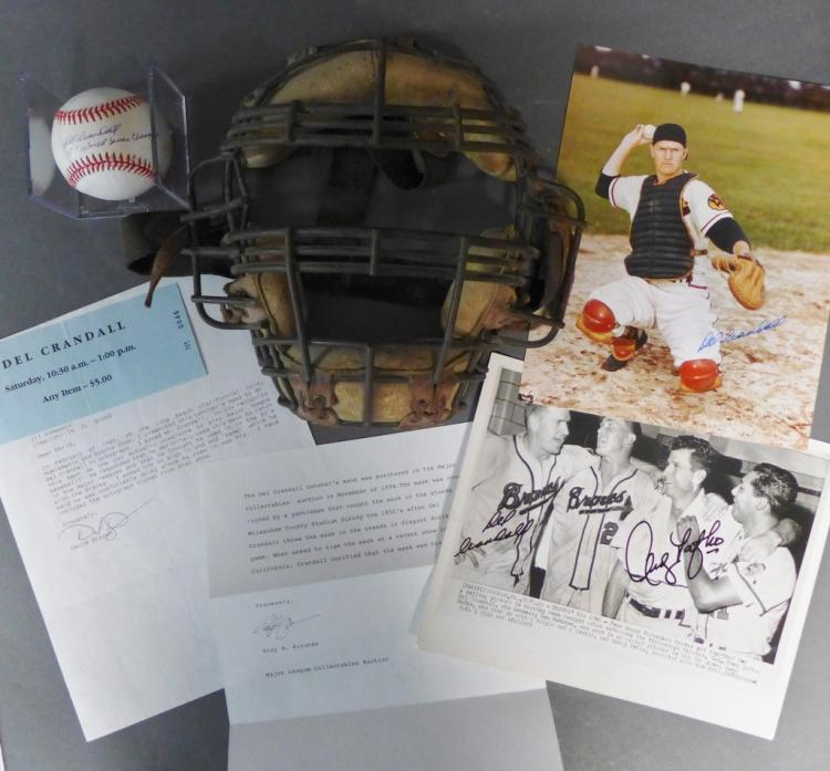 Del Crandall JSA Baseball & Signed Catcher's Mask