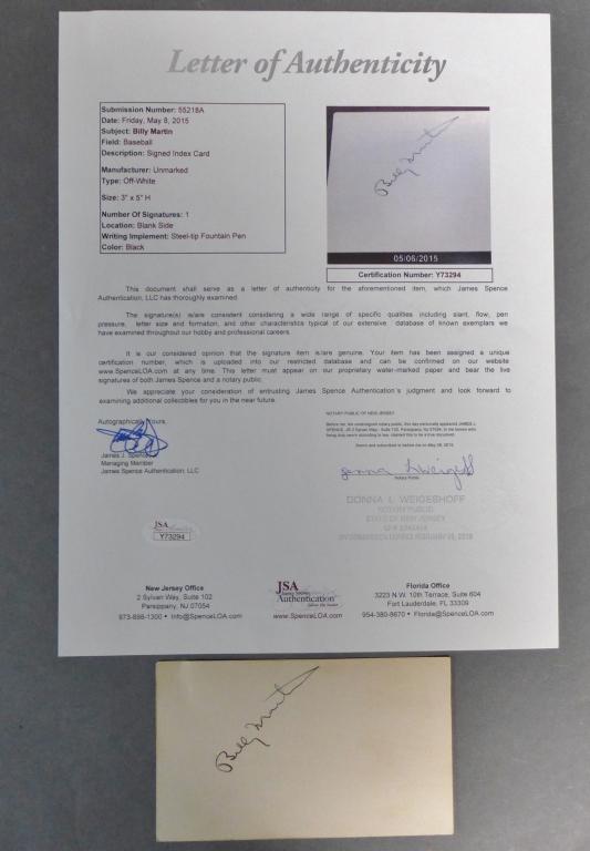 Billy Martin JSA Certified Autograph Signature