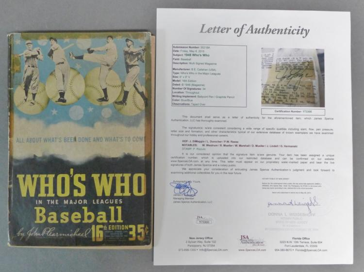 Signed 1948 Who's Who in the Major Leagues w/ JSA
