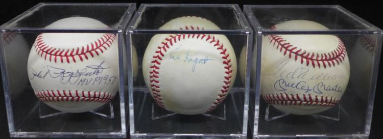 Three NY Yankee Signed Baseballs