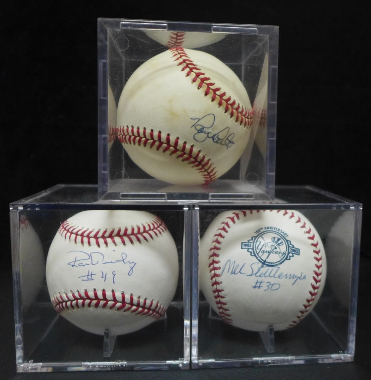 Three 1970's NY Yankees Autographed Balls