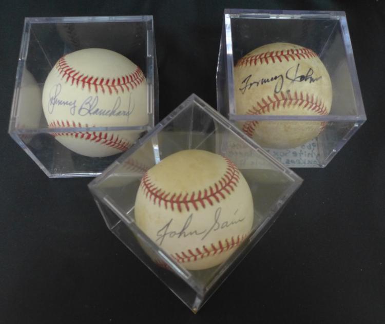 Three Vintage Yankee Autographed Baseballs