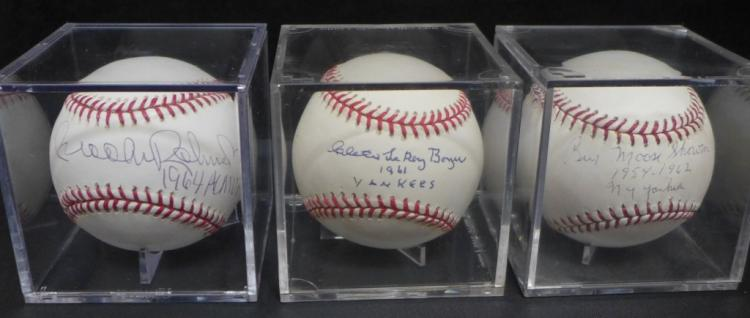 Assortment of Three Signed Yankee Baseballs