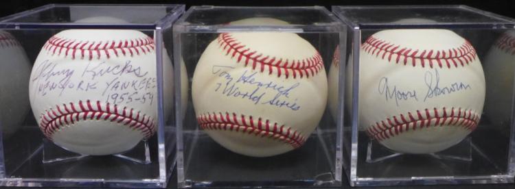 Three Autographed Vintage Yankee Baseballs