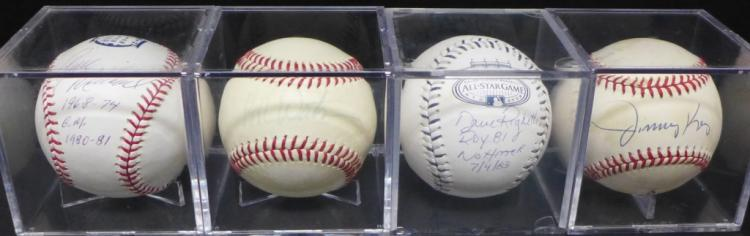 Four Yankees Autographed Baseballs