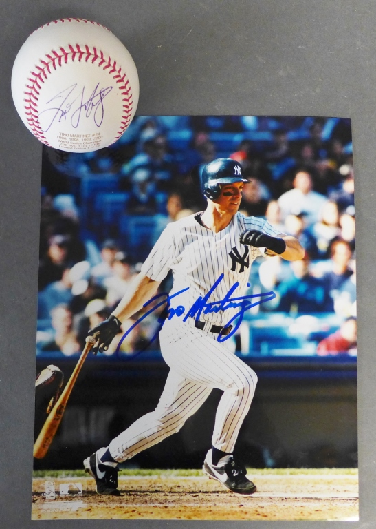 Tino Martinez NY Yankees Autographed Ball & Photo