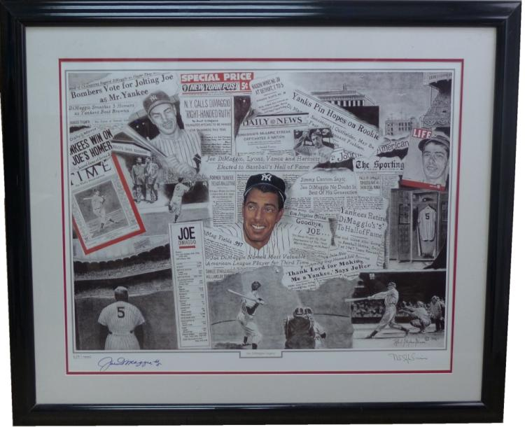 Joe Dimaggio Autographed Litho by R. S. Simon