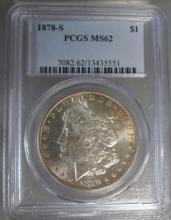 1878 S Morgan Silver Dollar PCGS MS62