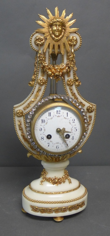 French White Marble and Ormolu Lyre Form Clock