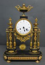 French Empire Gilt Bronze & Marble Portico Clock