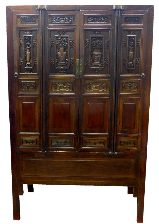 Antique Chinese Hand Carved Wood Armoire Cabinet