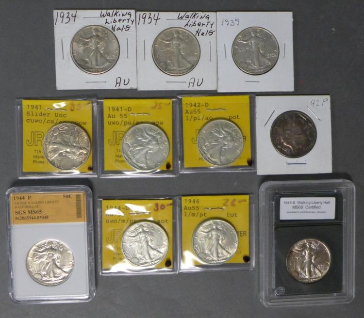 11 Walking Liberty Half Dollar Coins