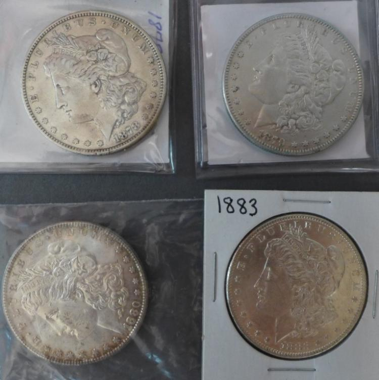 Four Morgan Silver Dollars, 1878 - 1883