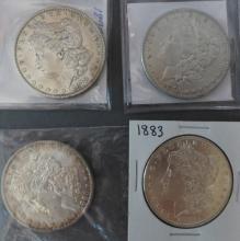 Four Morgan Silver Dollars, 1878 - 1883