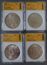 Four 1920's Liberty Peace Silver Dollars
