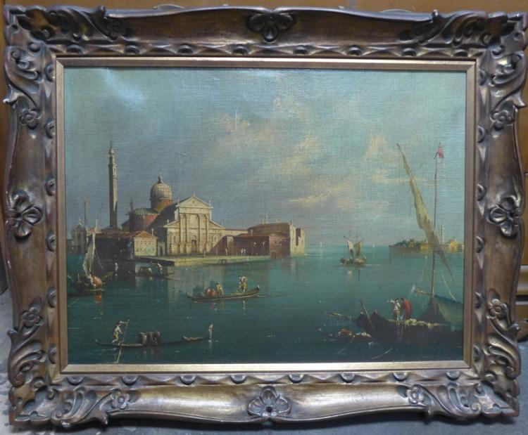 Antique Venetian Boat Scene
