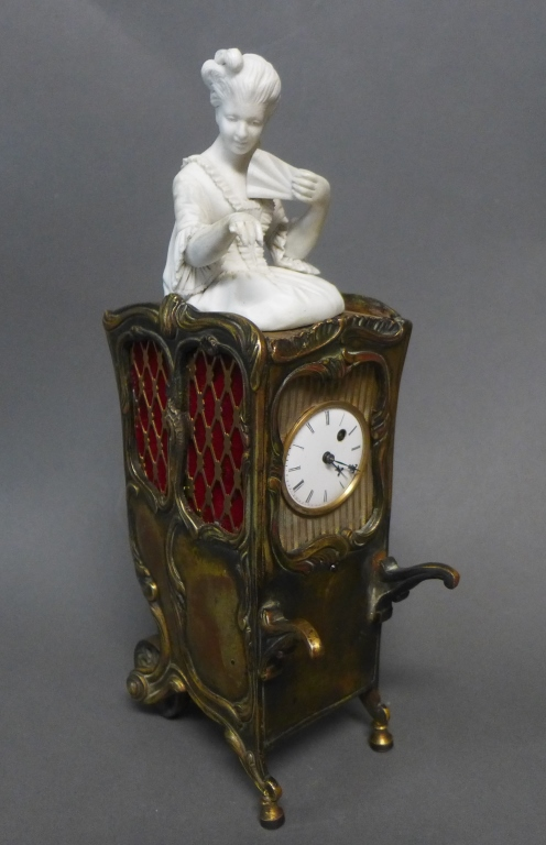 19th C Saloon Carriage w/ Bisque Figure as Clock