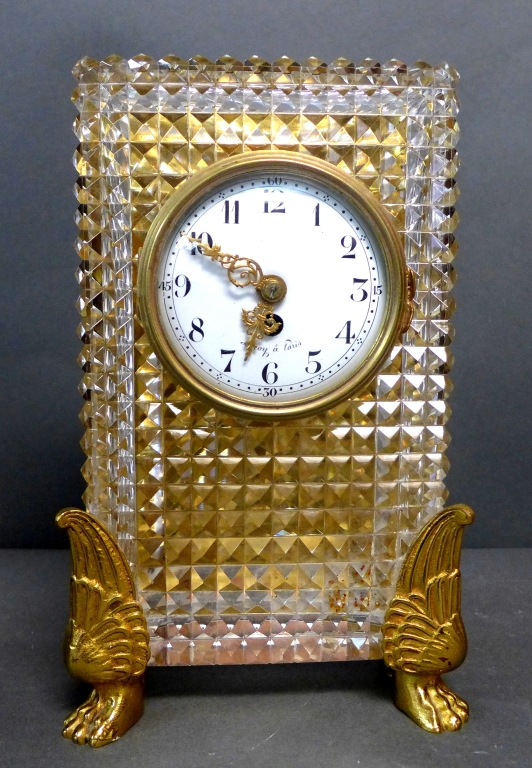 Antique French Bronze and Crystal Clock