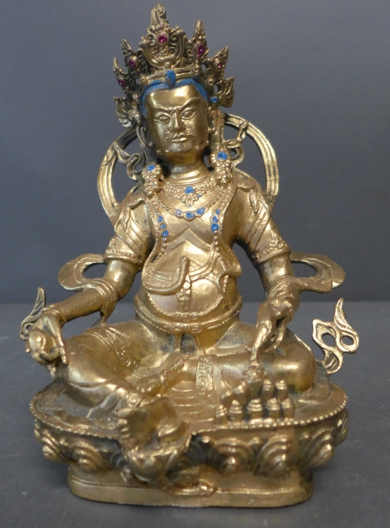 Gilt Bronze Seated Tibetan Buddha with Crown
