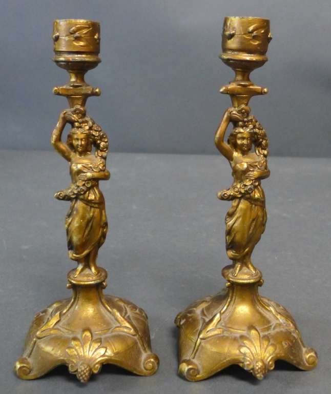 Gilt Metal Figural Candlestick Pair