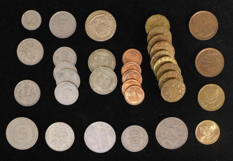 Collection of Over 30 International Coins