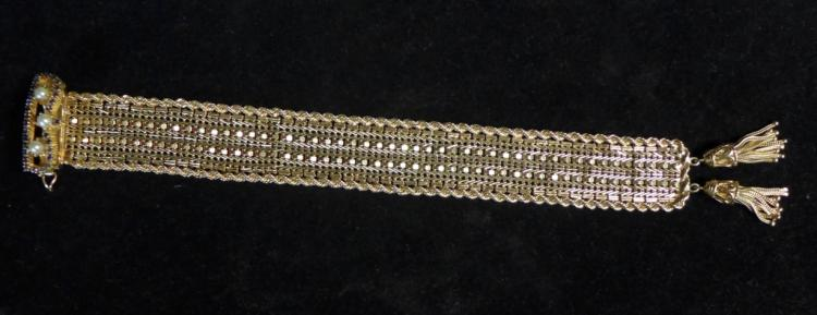 14k Yellow Gold, Pearl and Sapphire Bracelet