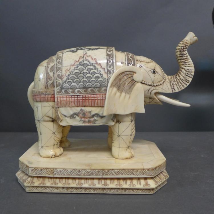 Bone Veneer Elephant Sculpture