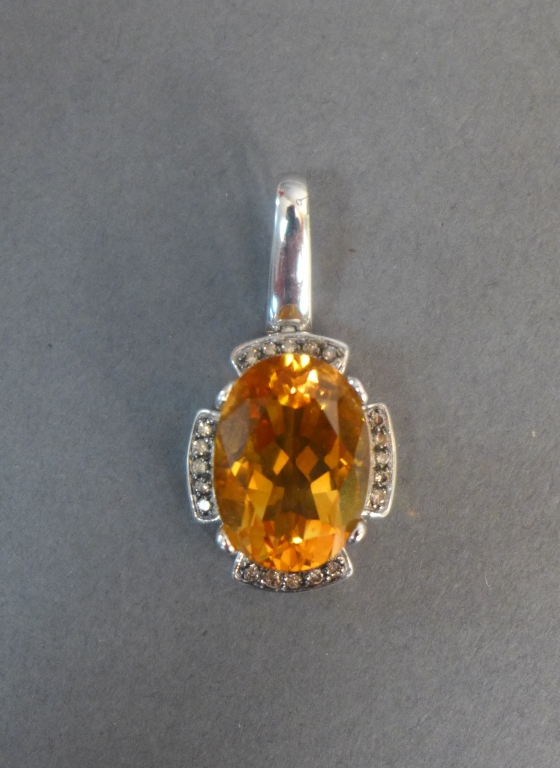 Topaz, Diamond & White Gold Pendant