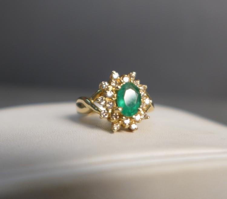 Emerald, Diamond & Gold Ring