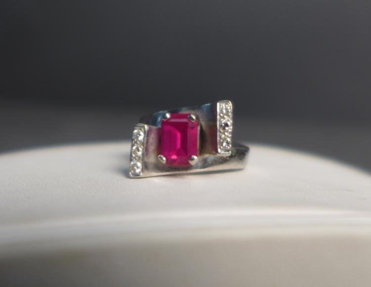 Pink Gem Stone, Diamond & White Gold Ring