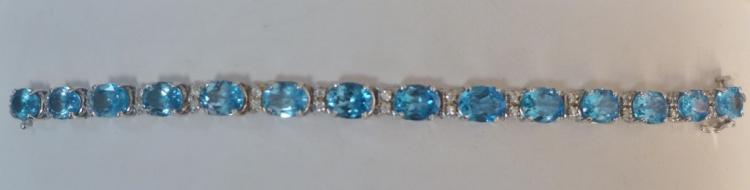 Diamond & Blue Topaz 14k White Gold Tennis Bracelet