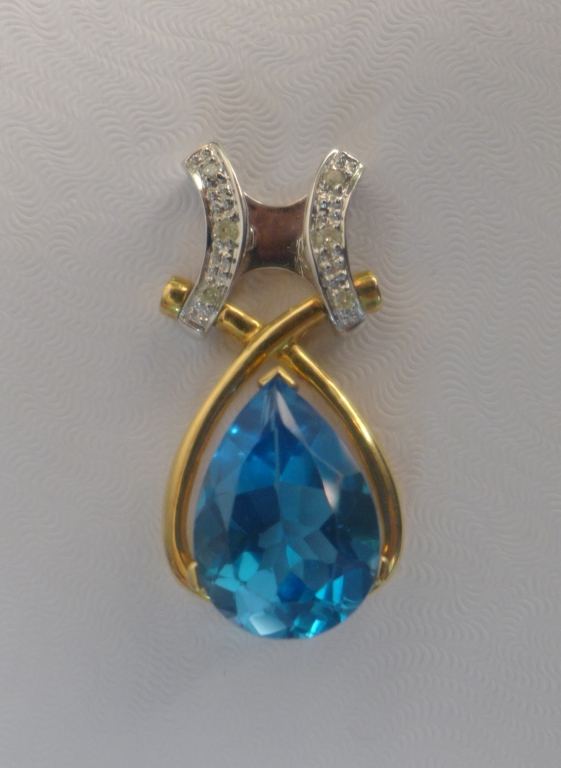Diamond, Blue Topaz & Gold Pendant