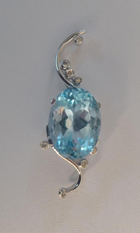 Blue Topaz, Diamond & White Gold Pendant
